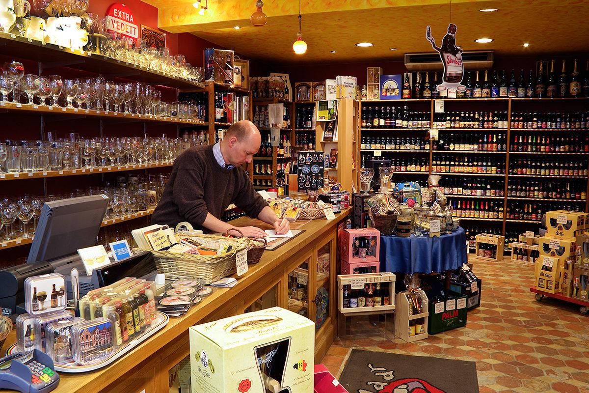Магазин пива в Брюгге, Бельгия