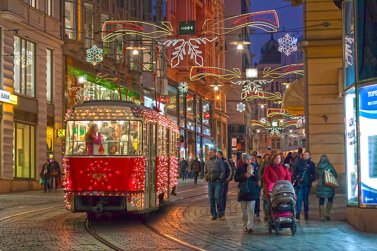 Трамвай в Брно во время рождества