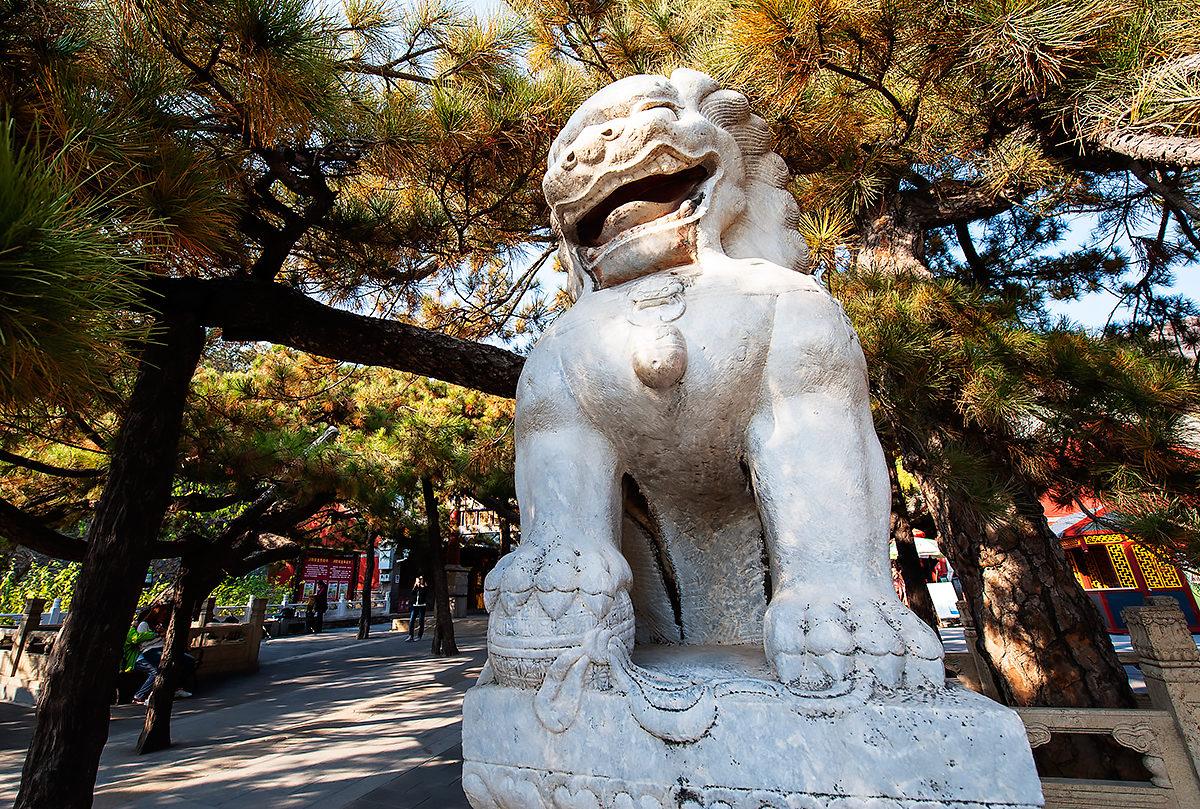 Статуя перед воротами, Храм Таньчжэ