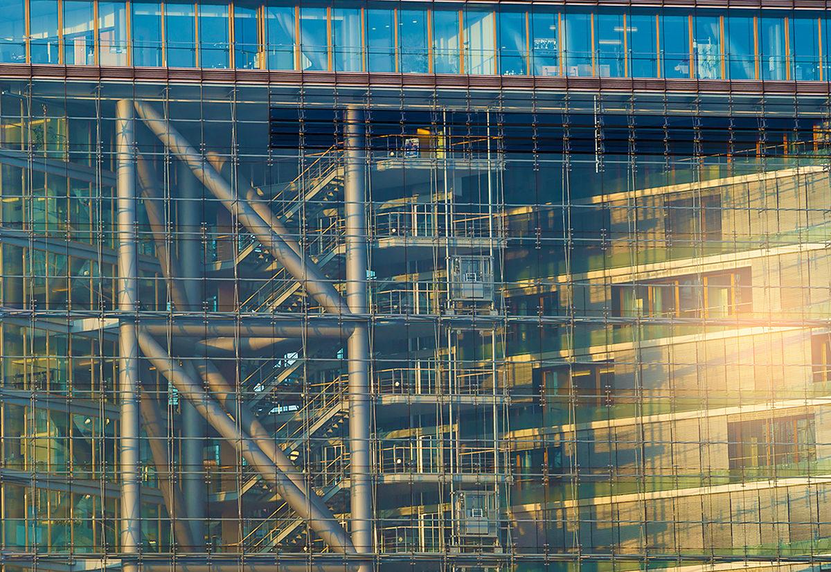 Строительный материал здания Городских ворот, Дюссельдорф