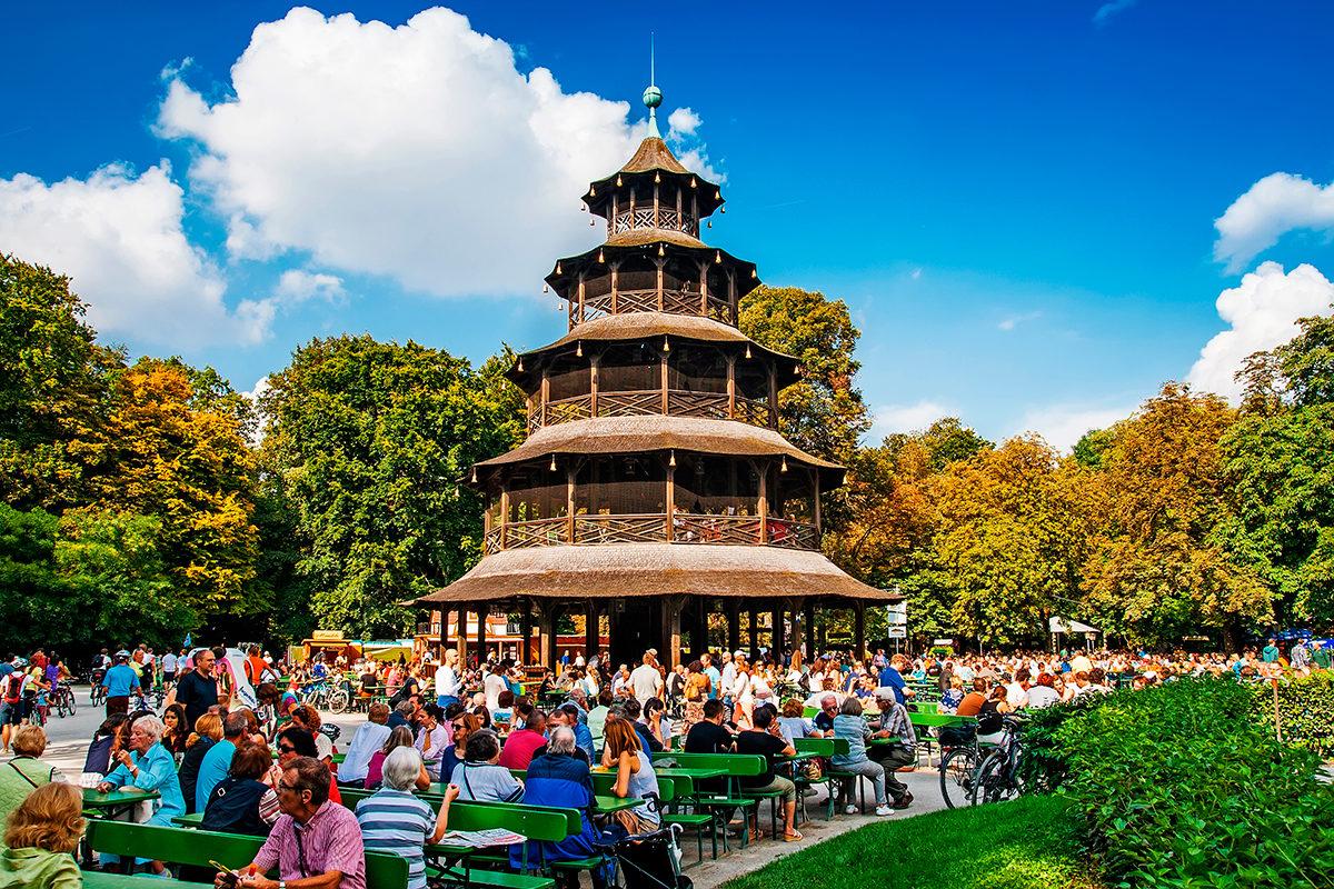 Китайская башня в Английском саду, Мюнхен
