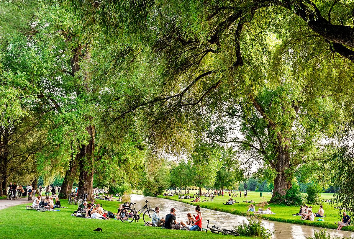 Английский сад в Мюнхене, Германия