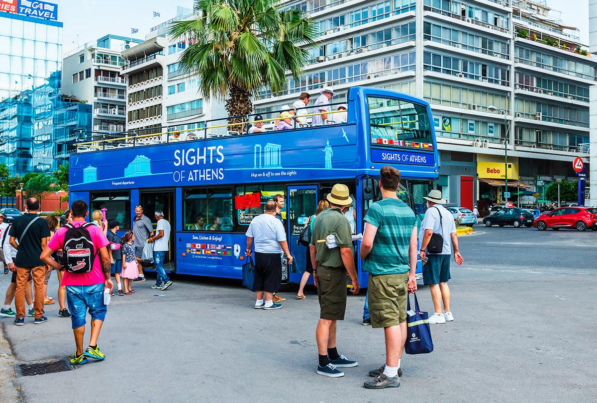 Открытый автобус, Афины
