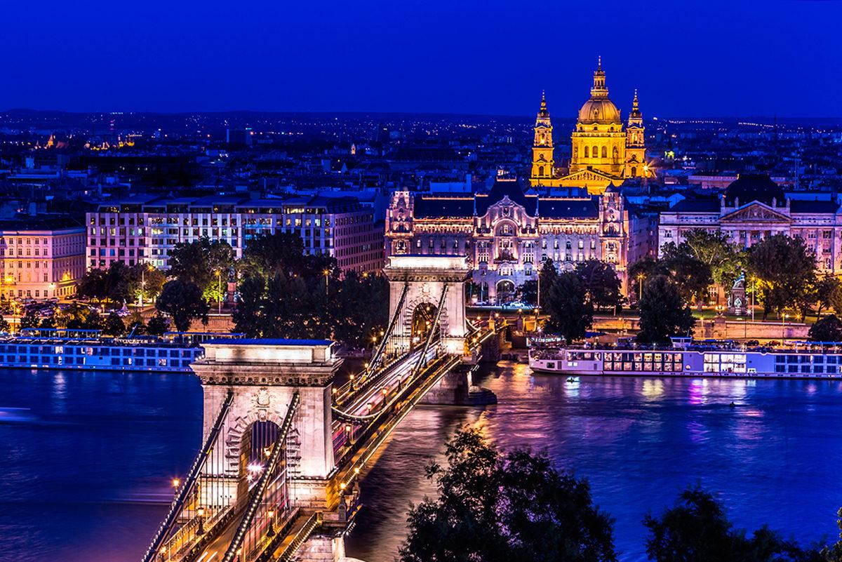 Ночной Будапешт, панорама