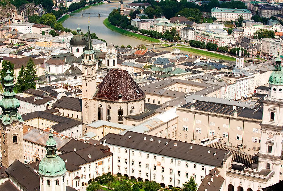 Старый район Зальцбурга, в котором расположен музей