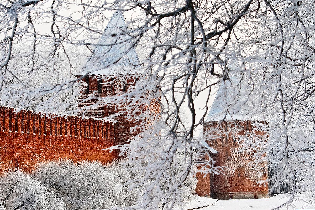 Смоленская крепость морозным днем