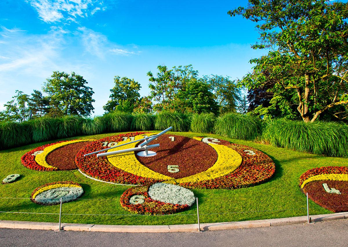 Цветочные часы в Ботаническом саду Женевы