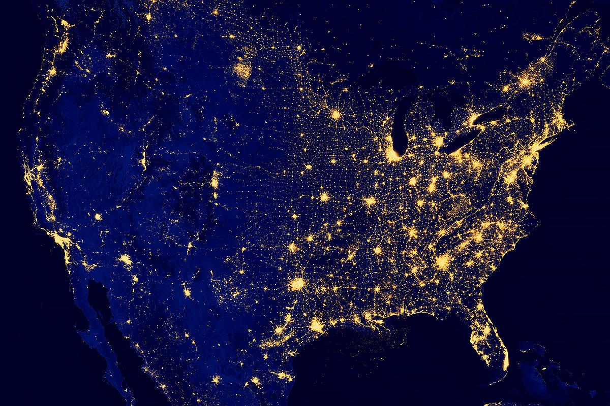 США, вид со спутника