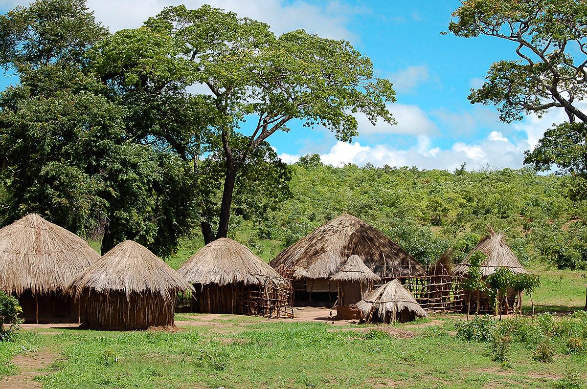 Хижины в деревне, Замбия