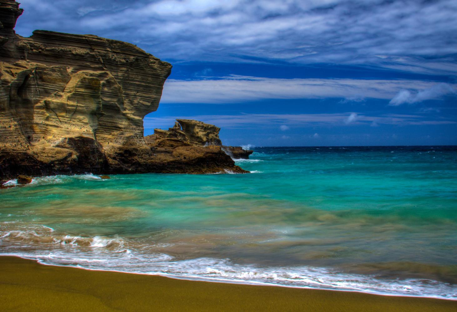 Зеленый пляж, Папаколеа, Гавайи