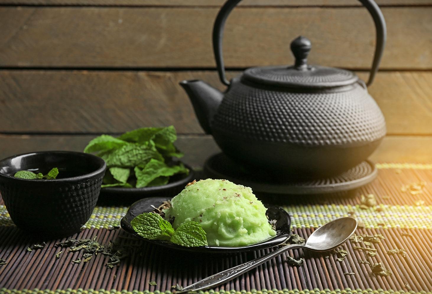 Мороженое из зеленого чая матча